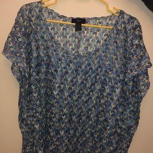 AQUA knit patterned green & blue t shirt blouse